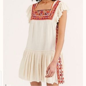 Free People Day Glow Embroidered Dress Med